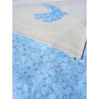 Couverture bébé Fleurs turquoises
