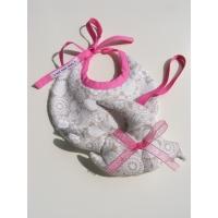 Pack naissance bavoir + guirlande Fleurs beiges