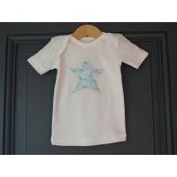 T-shirt personnalisé étoile Fleurs turquoises