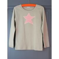 T-shirt personnalisé beige étoile Pois rouges