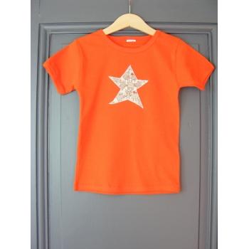 T-shirt personnalisé orange mc étoile Chouettes beiges